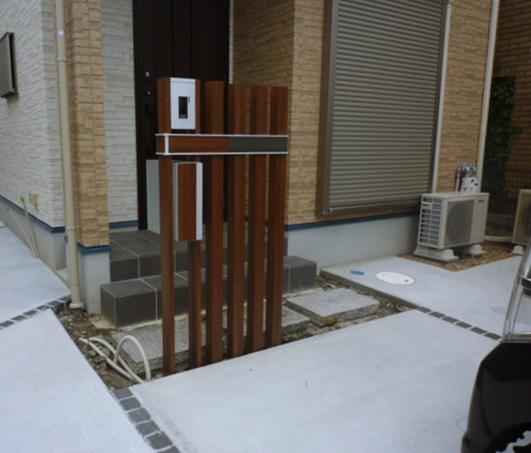 京都 LABOT - lab-t.com - 伏見区の新築外構工事。省スペースであってもしっかり門まわりを作ります。 -