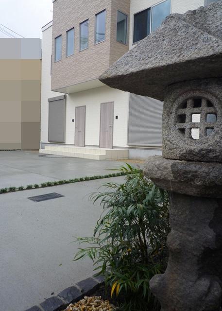 京都 LABOT - lab-t.com - 右京区:集合住宅の新築外構工事土間完成 -