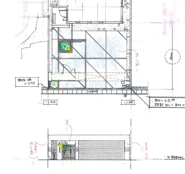 京都 LABOT - lab-t.com - シャッターでしっかり囲まれたクローズ外構計画 -