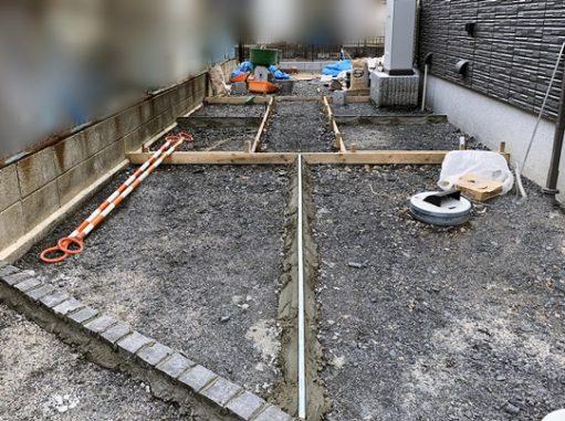 LABOT::ガレージ土間の準備、門柱回りの準備。