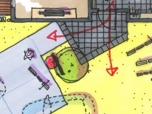 LABOT::タイルテラスや変形玄関ポーチ、そして円形のベンチを造作中
