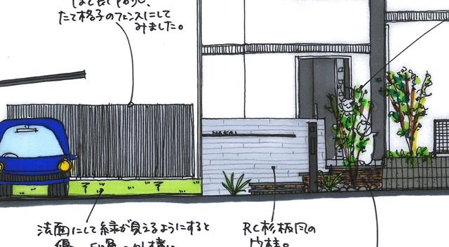 京都 LABOT - lab-t.com - RC杉板風タイルを使ったモダン外構 -