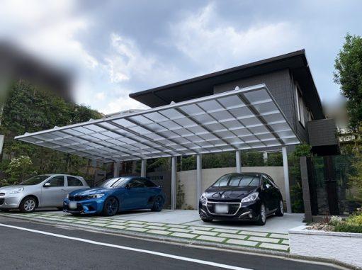 LABOT::圧巻のカーポート ダブルフェース×2台とグッドデザイン賞受賞の門扉
