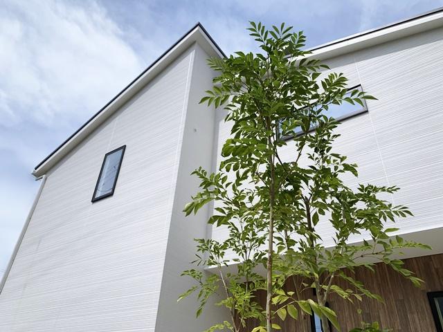 京都 LABOT - lab-t.com - ガレージの真ん中に機能門柱とシンボルツリーを -
